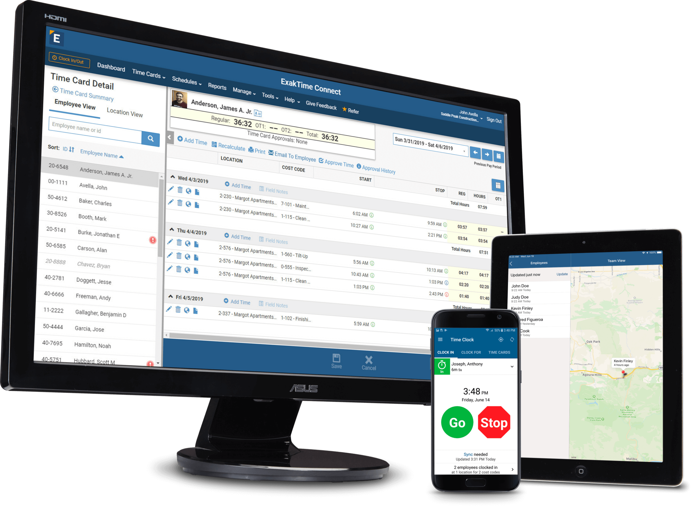 time clock app and employee time tracking software